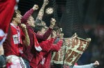 Supporters of Bayern Munich celebrate af